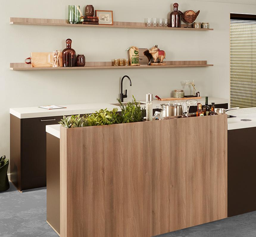 Open keuken met hout