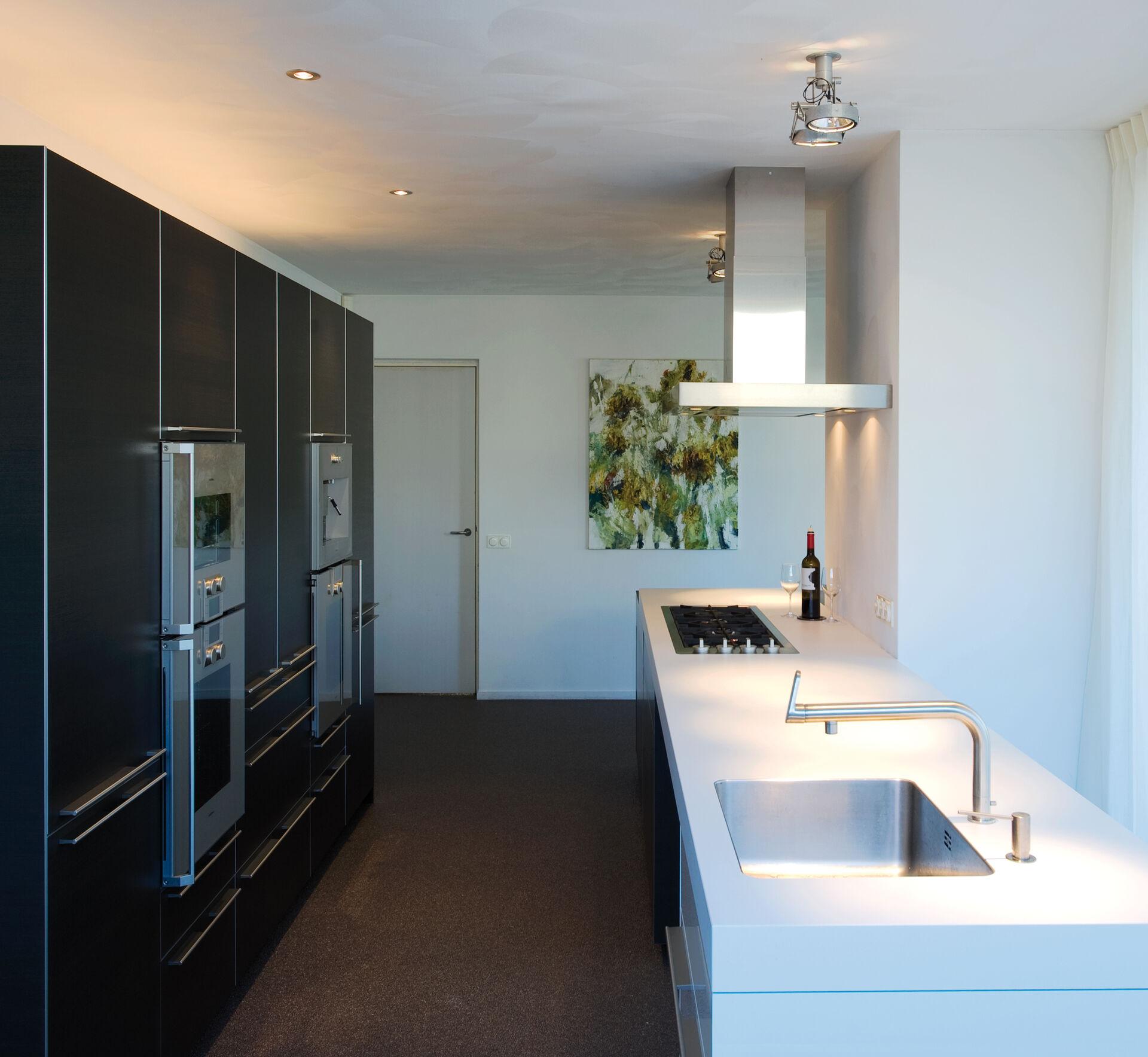 Parallel keuken met kastenwand